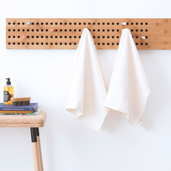 Komplet 2 białych ręczników frote Casa Di Bassi Stripe, 50 x 70 cm