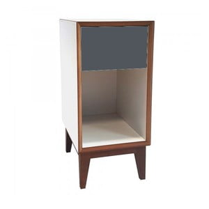 Mała szafka nocna z białym korpusem i grafitową szufladą Ragaba PIX