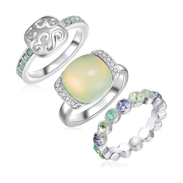 Zestaw 3 pierścionków z kryształami Swarovski Lilly & Chloe Océane, rozm. 52