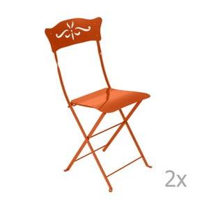 Zestaw 2 pomarańczowych składanych krzeseł ogrodowych Fermob Bagatelle