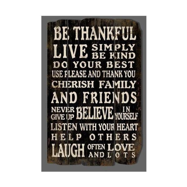 Drewniana tablica Be thankful 67x43 cm