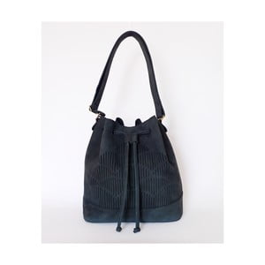 Skórzana torebka na ramię Cut Out, niebieska
