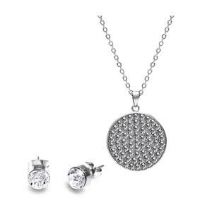 Zestaw naszyjnika srebrnego i pary kolczyków z kryształami Swarovski GemSeller Molle
