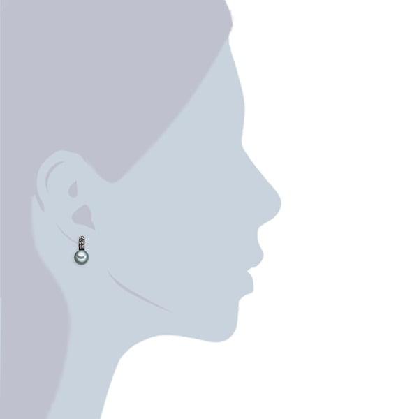 Kolczyki z grafitowych pereł Perldesse Aso, ⌀ 10 mm