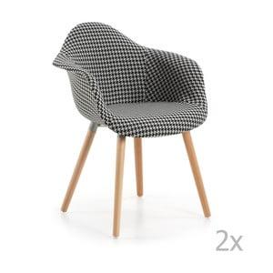 Zestaw 2 czarno-białych krzeseł La Forma Kenna