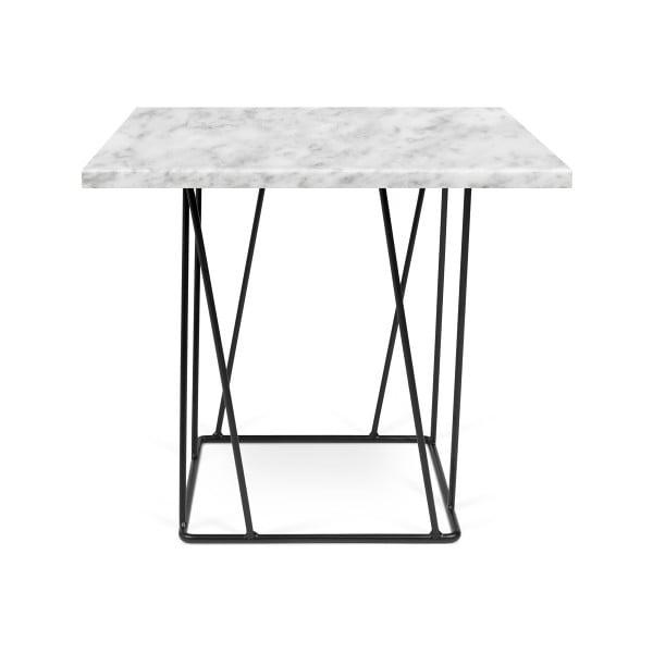 Biały stolik marmurowy z czarnymi nogami TemaHome Helix, 50 cm