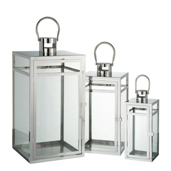 Zestaw 3 metalowych lampionów J-Line, 12,5x12,5x30,5 cm
