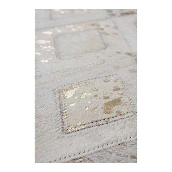 Kremowo-złoty skórzany dywan Dazzle, 120x170cm