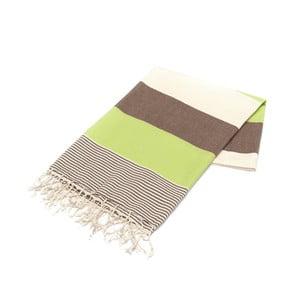 Zielono-brązowy ręcznik Hammam Amerikan, 100x180cm