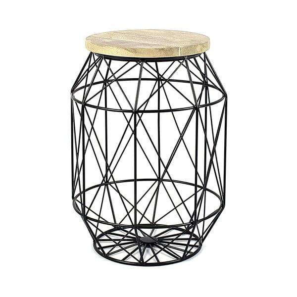 Czarny stolik/stojak z drewnianym blatem HF Living Dome