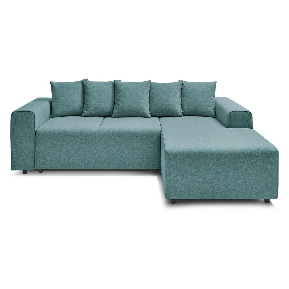 Jasnoturkusowa rozkładana sofa Bobochic Paris Faro, prawostronna