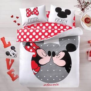 Komplet pościeli z prześcieradłem TAC Mickey&Minnie, 200x220 cm