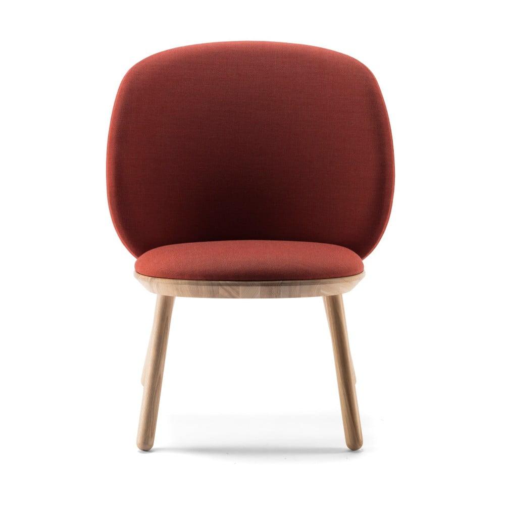 Brązowy fotel z jesionu z elementami skórzanymi EMKO Naïve