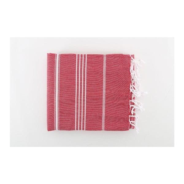 Czerwony ręcznik Hammam Sultan, 100x180 cm