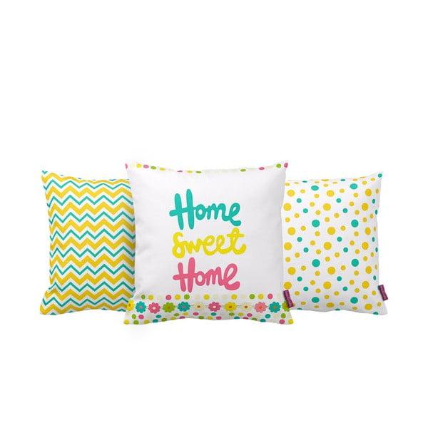 Zestaw 3 poduszek Home Sweet Home, 43x43 cm