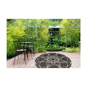 Wytrzymały dywan odpowiedni na zewnątrz Floorita Tondo Black, ⌀ 194 cm