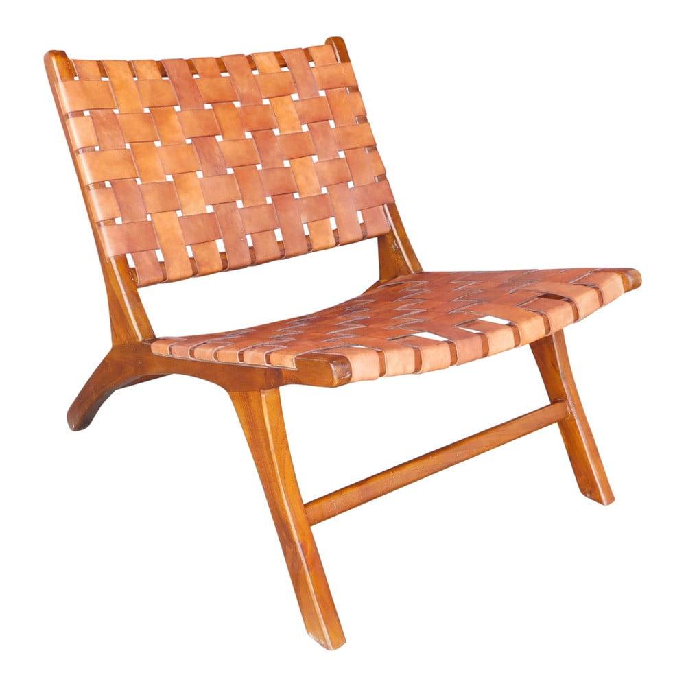 Brązowy fotel z drewna tekowego i skóry wołowej WOOX LIVING Ginevra