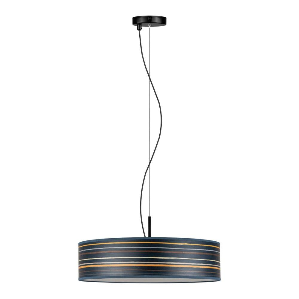 Ciemnoniebieska lampa wisząca z abażurem z naturalnego forniru Bulb Attack Ocho