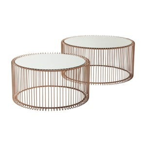 Zestaw 2 stolików w miedzianym wykończeniu Kare Design Wire Big