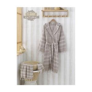 Komplet kremowego szlafroka i ręcznika Sultan Brown, rozmiar S/M
