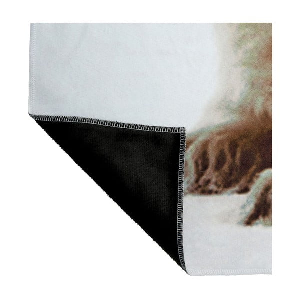 Biały koc J-Line Bear, 130x160 cm
