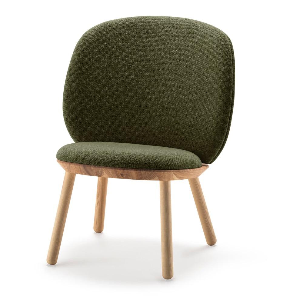Zielony wełniany fotel EMKO Naïve