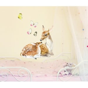 Naklejka wielokrotnego użytku Deer Family, 40x40 cm