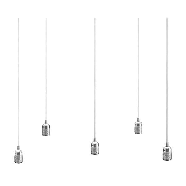 Lampa wisząca s 5 białymi kablami i oprawą żarówki w kolorze srebra Bulb Attack Uno