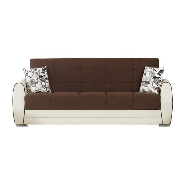 Kremowo-ciemnobrązowa trzyosobowa sofa rozkładana ze schowkiem Esidra Rest