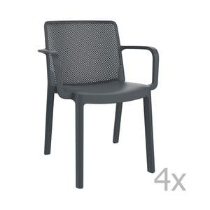 Zestaw 4 ciemnoszarych foteli ogrodowych Resol Fresh