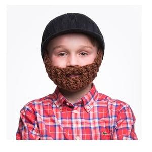 Czarna czapka dziecięca z brązową brodą Beardo Kids