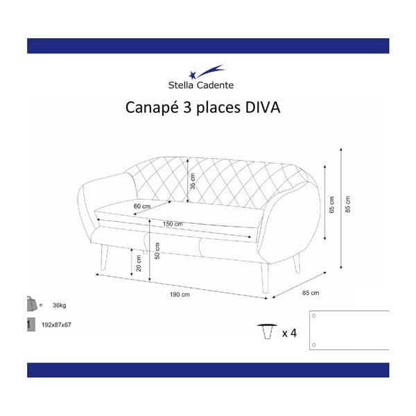 Granatowa sofa 3-osobowa Scandi by Stella Cadente Maison Diva
