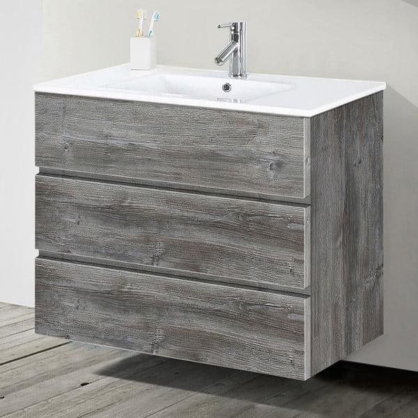 Szafka do łazienki z umywalką i lustrem Nayade, motyw vintage, 90 cm