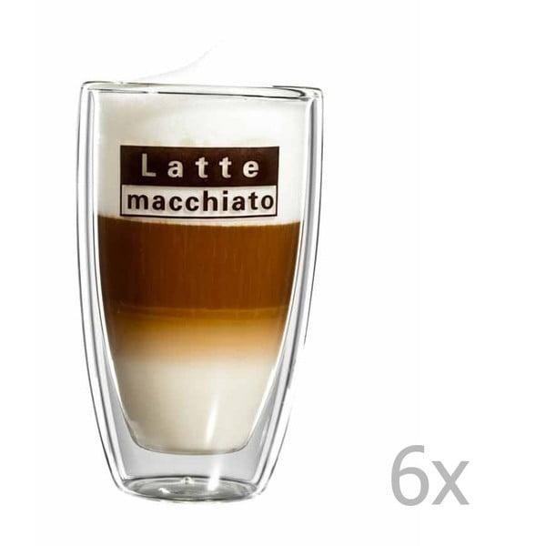 Zestaw 6   szklanych kubków z logo na latte macchiato bloomix