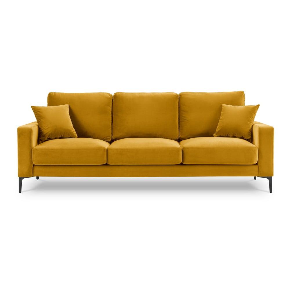 Żółta aksamitna sofa Kooko Home Harmony, 220 cm