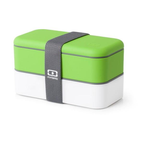 Biało-zielony pojemnik na lunch Monbento