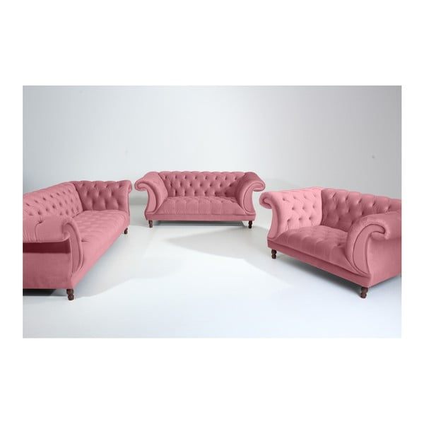 Różowa sofa 3-osobowa Max Winzer Ivette