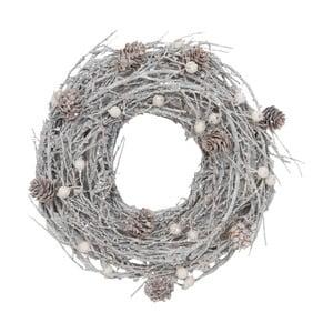 Wieniec dekoracyjny Clayre & Eef Snowy Time Garland, Ø 27 cm