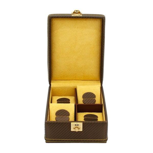 Czekoladowo-brązowy kuferek na 4 zegarki Carbon