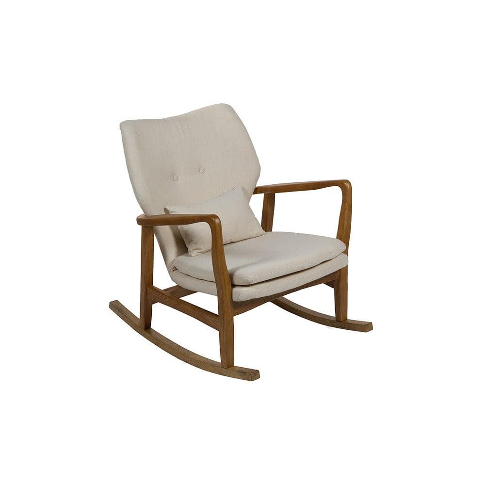Beżowy fotel na biegunach z konstrukcją z drewna wiązu Santiago Pons Woven