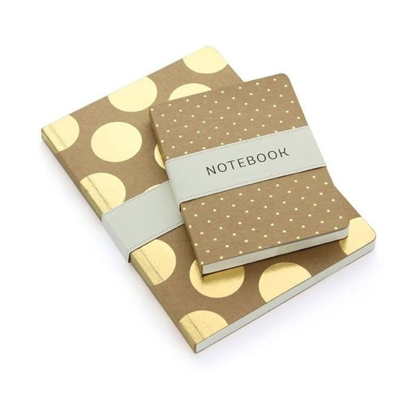 Notes A6 Go Stationery Gold Polka Kraft
