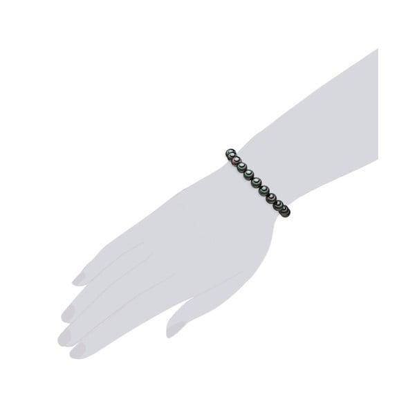 Perłowa bransoletka Muschel, antracytowe perły 8 mm, długość 20 cm