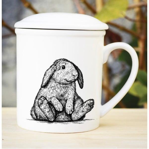 Porcelanowy kubek z przykrywką i sitkiem Bunny, 300 ml
