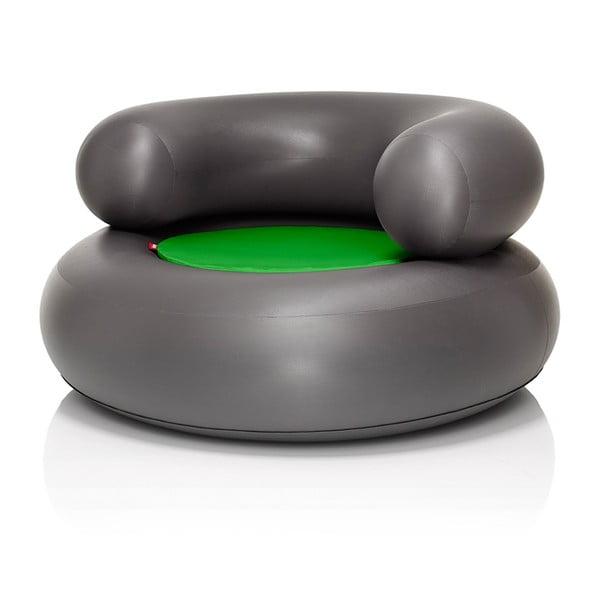 Fotel dmuchany CH-AIR, antracytowy z zieloną poduszką
