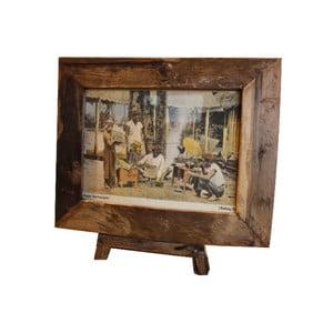 Ramka na zdjęcia z drewna tekowego HSM Collection Antique, 56 x 45 cm