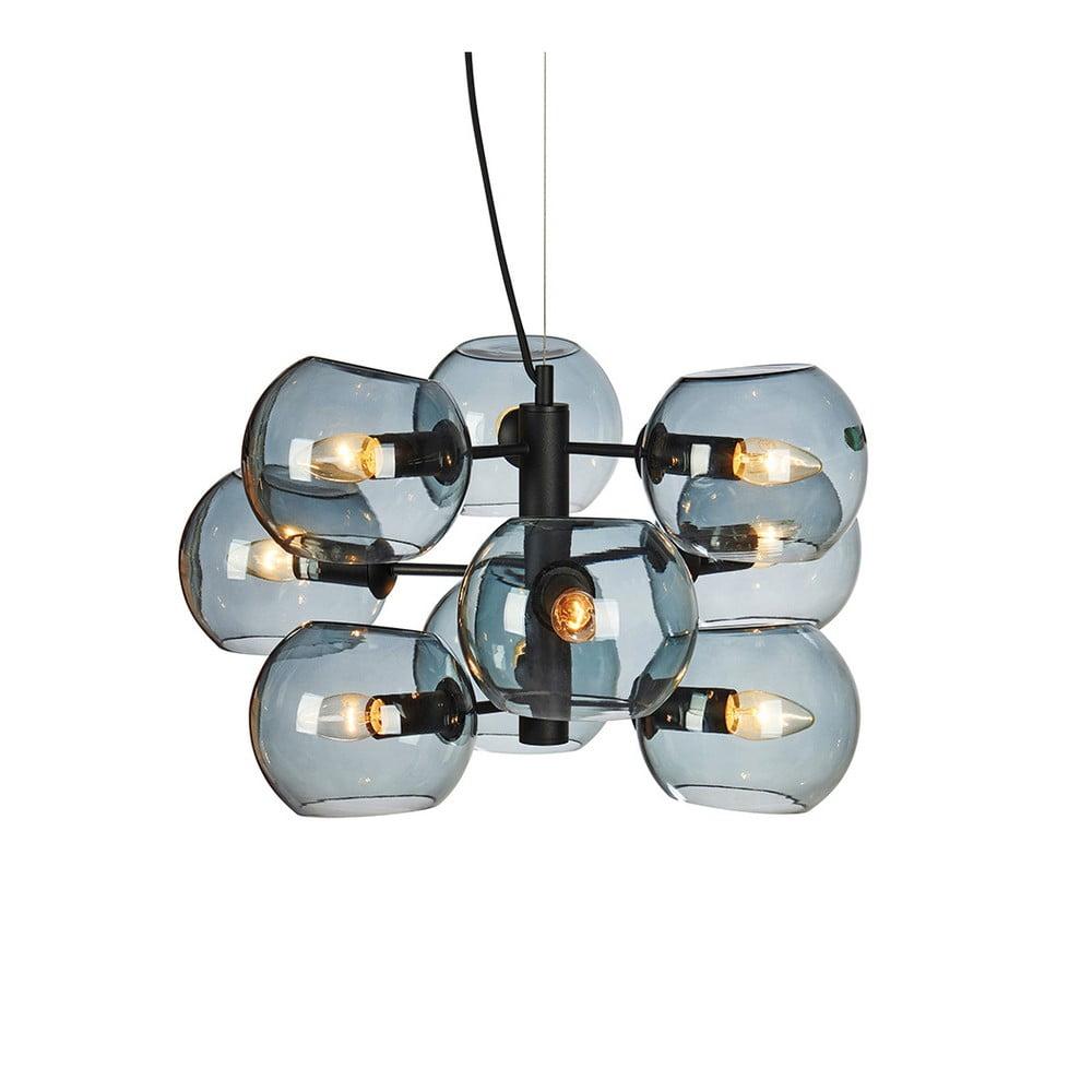 Czarna lampa wisząca z 9 przydymionymi kloszami Markslöjd Soap, ø55cm