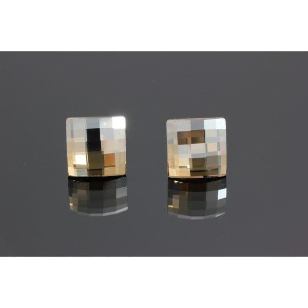 Kolczyki Swarovski Elements Cubes Golden Shadow