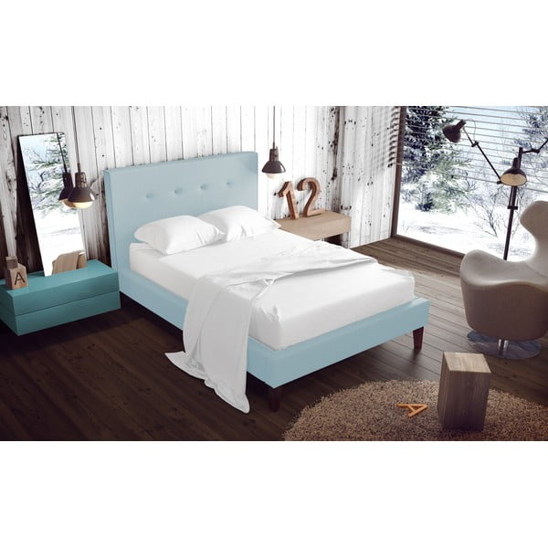 Pastelowo niebieskie łóżko z naturalnymi nóżkami Vivonita Kent, 140x200 cm