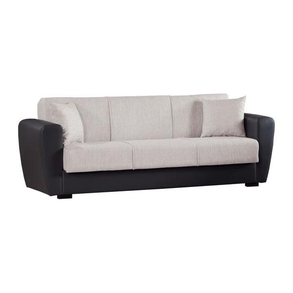Kremowo-czarna trzyosobowa sofa rozkładana ze schowkiem Esidra Comfort