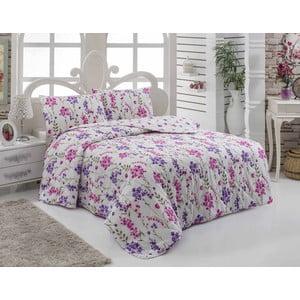 Narzuta pikowana i 2 poszewki na poduszkę Lory Lilac, 200x220 cm